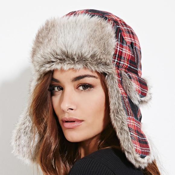 343a8f7da933c Red Tartan Plaid Fur Trapper Hat. M 5c26348e1b3294f5f41bc013